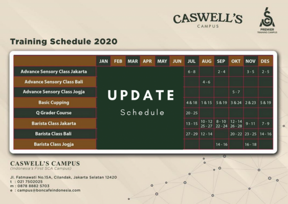 Training Schedule Caswells Coffee Lab 2020